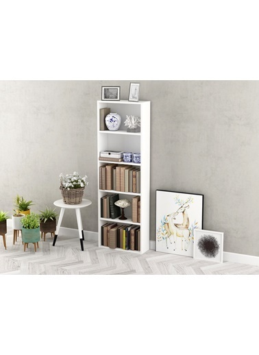Sanal Mobilya Cokko Kitaplık ( Parlak Beyaz ) Beyaz